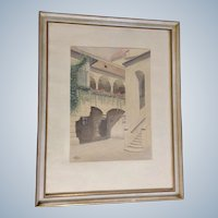 1963 KK Architectural Watercolor Painting of a European House Monogrammed by German Artist