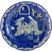 """Christmas Nativity By Mikasa Heavy Crystal Clear & Frosted Platter Large 15-1/4 """" Glass with Acrylic Stand Holder and Original Box"""