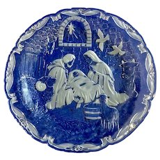 "Christmas Nativity By Mikasa Heavy Crystal Clear & Frosted Platter Large 15-1/4 "" Glass with Acrylic Stand Holder and Original Box"