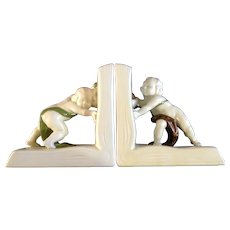 Rare Global Views Inc. Figural Bookends Children Pushing Open Books Ceramic Figurines