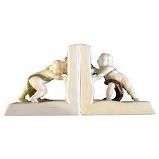 Global Views Inc  Children Bookends Figural Pushing Open Books Ceramic Figurines