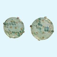 "Aqua Blue & Silver-tone Clip on Earrings 1-3/8"" in Diameter Large"