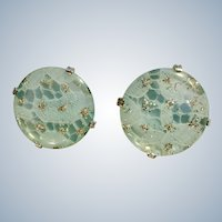 "Aqua Blue & Silver-tone Clip on Earrings 1-3/8"" in Diameter Large"