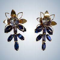 Crystals and Gold-tone Flower Earrings Screw Back Duane 1950's Costume Jewelry Vintage