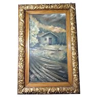 Mountain Top Log Cabin, Painting Original Oil on Board signed by Artist, Dawn 1987
