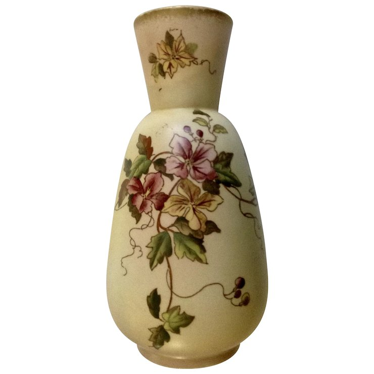 1890 1894 Wr Carlton Ware Clematis Brown Swallow Marked Vase