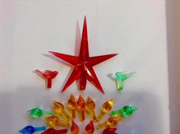 Vintage Christmas Tree Plastic Replacement Ornament Bulbs And Star Tree Topper For Ceramic Christmas Tree Group Of 40 Piece