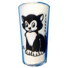 1940's Figaro Cat From Pinocchio Walt Disney Libby Juice Promotional Glass