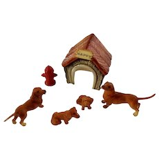 Dachshunds, Dog House and Fire Hydrant Bone China Miniatures Doxin Animal Family Figurines