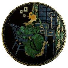 Vintage Art Deco Sunlite Tindeco Tin Victorian Woman at Desk Vivid Green
