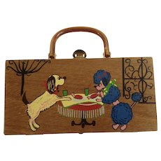French Poodle and Dogs Gary Gails of Dallas Wooden Box Purse Hand Bag with Lucite Handle 1960's