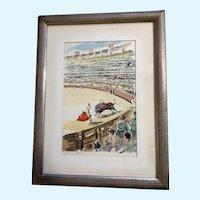 Corrida a Sevilla Bullfight Watercolor Enhanced Serigraph Print Mid Century