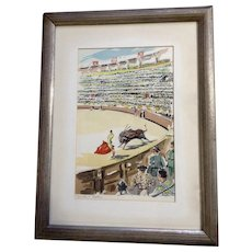 Corrida a Sevilla Bullfight Watercolor Enhanced Serigraph Print Mid Century