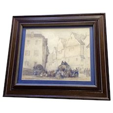Frank Senne, Figural People in European Town Center Watercolor Painting Signed by Artist