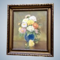 Breva Johnson (1909-2004) Mums Floral Still Life Pastel Drawing Works on Paper Signed by Arkansas Artist