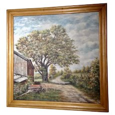 B Stevens Landscape View Down Rural Farm Road Large Oil Painting Signed by Artist
