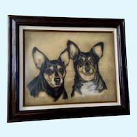 Shirley M. Dickerson (1930-2016) Chihuahua Dogs Pastel Painting