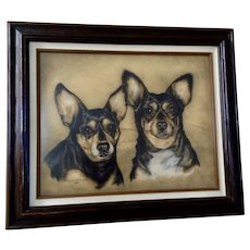 Shirley M. Dickerson (1930-2016) Black Chihuahua Dogs Pastel Painting Works on Paper Signed by Artist