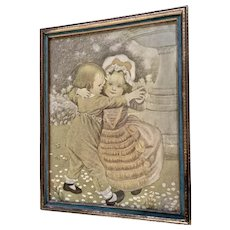 Vintage Print of Children Dancing in a Garden in Original Frame