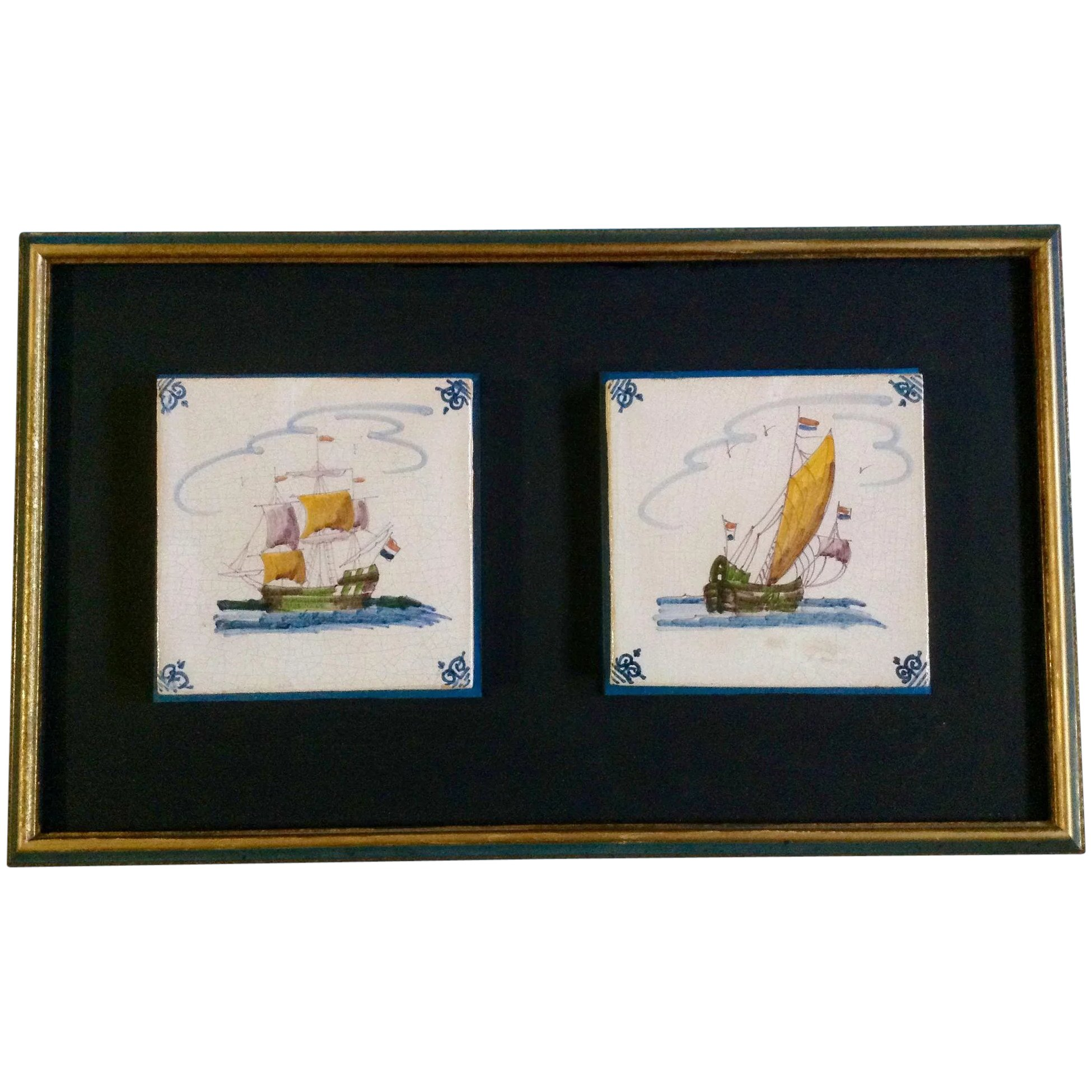 Delftware ceramic tile vintage old dutch tiles two sailing ships click to expand dailygadgetfo Image collections
