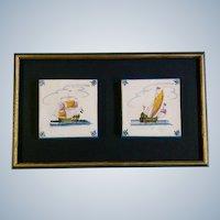 Delft Blue Delftware Ceramic Tile, Vintage Old Dutch Tiles, Two Sailing Ships, Holland Netherlands