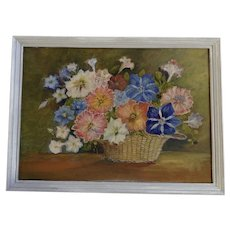 Lucy Edgar Naive Floral Still Life Oil Painting on Board