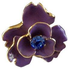 "Beautiful KJL Purple Enamel Flower in Gold Tone Setting with Blue Rhinestone Center Kenneth J. Lane, Costume Jewelry Pin 2"""