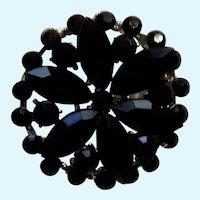 "Black Faux Stones in Silver Tone Setting Pin Costume Jewelry 1-3/8"""