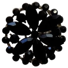 Black Faux Stones in Silver Tone Setting Pin Costume Jewelry 1-3/8""