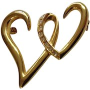 "Two Intertwined Hearts with Diamond Rhinestones on Gold-tone Setting Pin Costume Jewelry 1-3/4"""