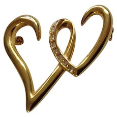 Two Intertwined Hearts with Diamond Rhinestones on Gold-tone Setting Pin Costume Jewelry 1-3/4""