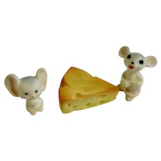 Bone China Miniature Mouse and Cheese Hand Painted Mice Figurines