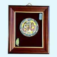 Chinese Dragon Four Toed Ceramic Medallion Tile Wall Art Plaque