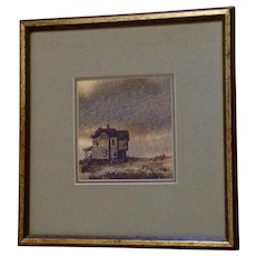 House on a Prairie Watercolor Painting Signed by Artist