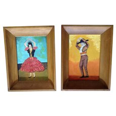 Nancy A Beaton, Vintage Spanish Flamenco Woman and Man Dancers Naive Acrylic Paintings on Canvas