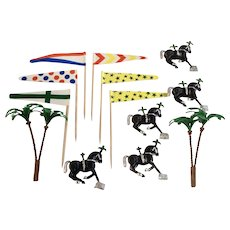 Vintage Cake Decoration Toppers Flags Palm Trees & Circus Horses Plastic Animals