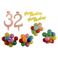 Vintage Cake Decoration Toppers Cupcake Picks Balloons Happy Birthday and Number 2 & 3 Plastic
