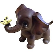 Vintage Josef Originals Baby  Elephant with Yellow Butterfly Ceramic Figurine Made in Japan