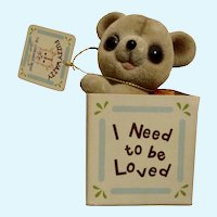 Josef Originals Flocked Teddy Bear Need To Be Loved Figurine