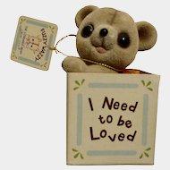 Vintage Josef Originals Flocked Fuzzy Wazzy Wuzzy Teddy Bear in Box, I Need To Be Loved, George Good Figurine