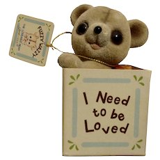 Vintage Josef Originals Flocked Fuzzy Wazzy Wuzzy Teddy Bear in Box, I Need To Be Loved, George Good Figurine