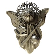 Baseball Angel Silver Tone Brooch Pin Costume Jewelry 2""