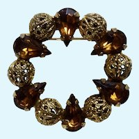 "Amber Jeweled Rhinestones on Gold Tone Brooch Pin Costume Jewelry 1-1/4"""