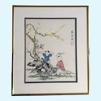 Adorable Children Playing by a Yellow Blossom Tree Watercolor Painting