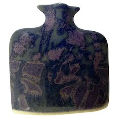 Beautiful Robin and Billie Bloom Hand Made Purple Pottery Miniature Vase ESP Earth Sky Pottery Signed by North Carolina Artist