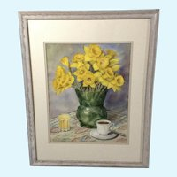 Daffodil Flowers on Breakfast Table Large Still Life Watercolor Painting