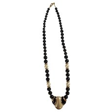 """Beautiful Napier Black and White Faux Pearl Gold-tone Necklace 24"""""""