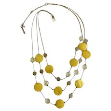 """Designer Kenneth Cole New York Jewelry Three Strand Necklace Yellow, Silver-tone and Crystal Beads 20-1/2"""" Costume Jewelry"""