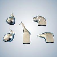 Animals Dansk Paperweights Giraffe, Cat, Rabbit, Polar Bear, Buffalo, Design Silver Plated Figurines Vintage Discontinued Gunnar Cypen