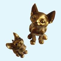 Golden Kitty Cat Figurines Anthony Freeman McFarlin California USA Pottery